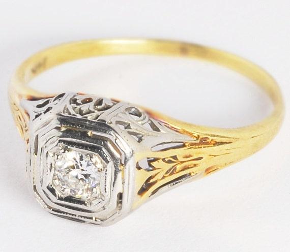 Vintage Art Nouveau Round Old European Cut Diamond OEC Solitaire Ring 18kt Yellow Gold 14kt White Gold