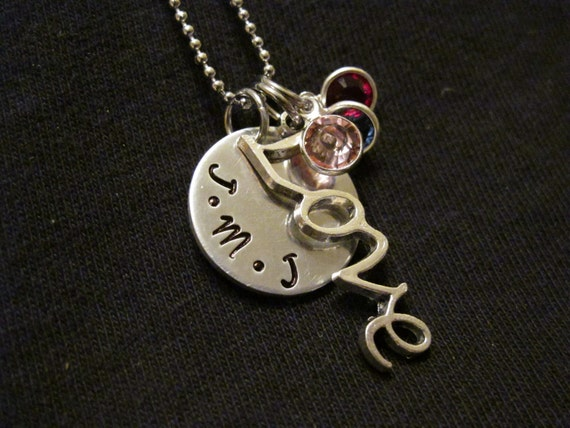 """Wedding or Anniversary Gift, Handstamped """"Love"""" necklace with Swarovski Birthstones, Couples Necklace, New Family Gift"""