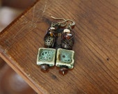 Ceramic bead bronze dangle earrings - green square ceramic bead with wire wrapped earthy bronze and wooden beads