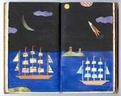 clipper ship original mixed media collage altered book