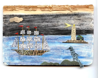 clipper ship mixed media collage