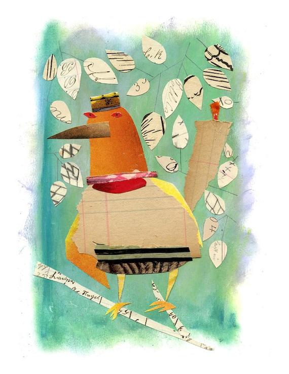 mixed media bird, mixed media art, mixed media print, mixed media collage, collage