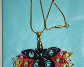 Quilled Bird of Paradise Pendant and Necklace