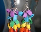 Quilling Paper Rainbow Dangle Earrings