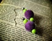 Joker Fuzzy Purple and Lime Green Beaded Earrings