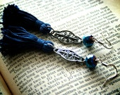 Indigo Blue Tassle Tassel Dangle Earrings