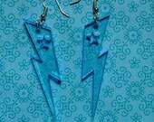 UV Neon Blue Acrylic Lightning Bolt Earrings