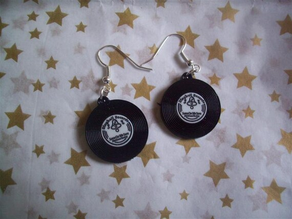 Black And White Vintage Style Vinyl Record Earrings Rockabilly
