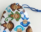 Monkey Party Favor Bags / Fabric Goodie Bags / Birthday Goody Bags / Treat Bags / 6.25 x 9.5 inches / Set of 5