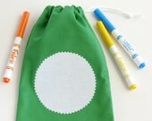 Art Birthday Party Favors / Color Your Own Fabric Goodie Bags / 5 Green Goody Bags / Cloth Treat Bags / 6.25 x 9.5 inches