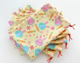 Bunny Cloth Gift Bags / Party Favors / Birthday Goodie Bags / Fabric Goody Bags / Treat Bags / 6.25 x 9.5 inches / Set of 5