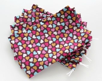 Heart Fabric Gift Bags / Birthday Party Favors / Cloth Gift Bags / Fabric Goodie Bags / 6.25 x 9.5 inches / Set of 5
