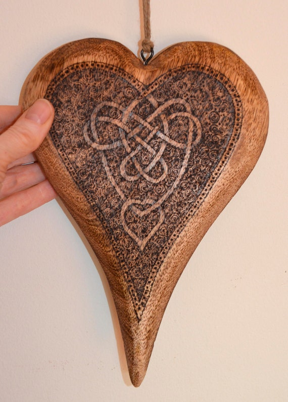 Wooden heart decorated with pyrography (woodburning)