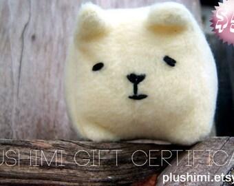 Plushimi Gift Certificate -- 50 US Dollar Gift Certificate for Plushimi