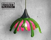 FlowERs- Lampshade - Green and Pink- recycle- plastic- creative handmade