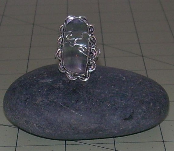 Chunky FLORENTINE Stone Ring STERLING SILVER Ring Size 8