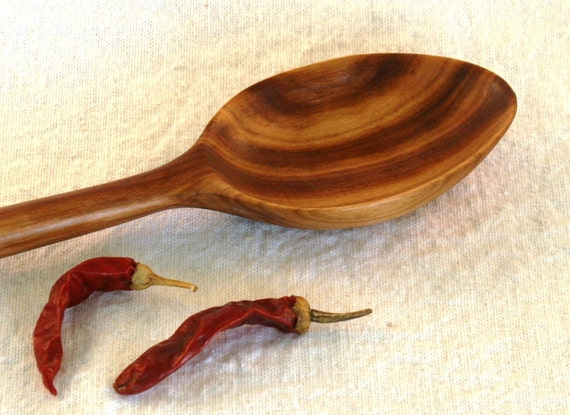Hand Carved Black Cherry Wood Spoon - Extra Large Bowl