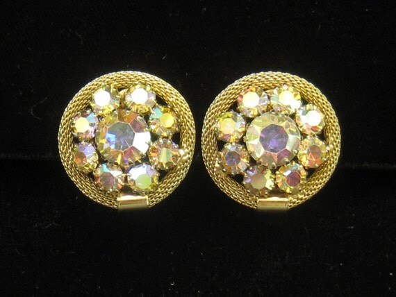 CLEARANCE Vintage WEISS Round AB Rhinestone and gold tone Mesh Earrings