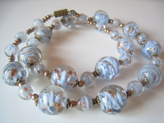 Vintage Murano Art Glass Bead Necklace of Powder Blue & Copper within Clear Glass