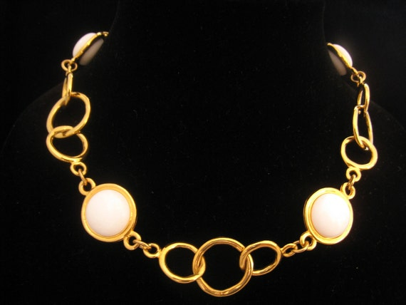 RESERVED Sale Vintage Ann Klein Circle Link Necklace with 4 Large White Bead Accent Links