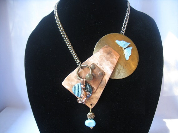 Abstrasct Asymmetric Mixed Metal Assembled Necklace has Turquoise Accent Pieces & Front Closure by Creative Capers