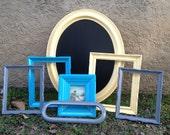 Spring Fling Frame Collection // Yellow, Grey, Turquoise Frame Set // Chalkboard // Vintage Art Work // Wall Decor
