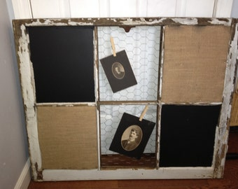 RECLAIMED Old Window - Custom - Chalkboard - MAGNETIC - Cork board - BURLAP - fabric - Chicken Wire - Wedding - Office - Calendar
