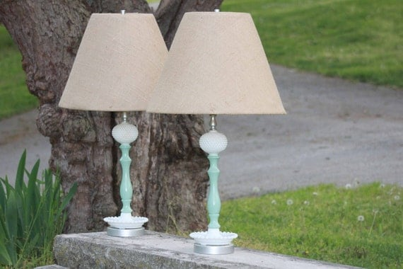 RESERVED do not Buy- Vintage Hobnail Lamps with Burlap Shades - Shabby Chic - Seafoam Green - Shabby chic - French Country