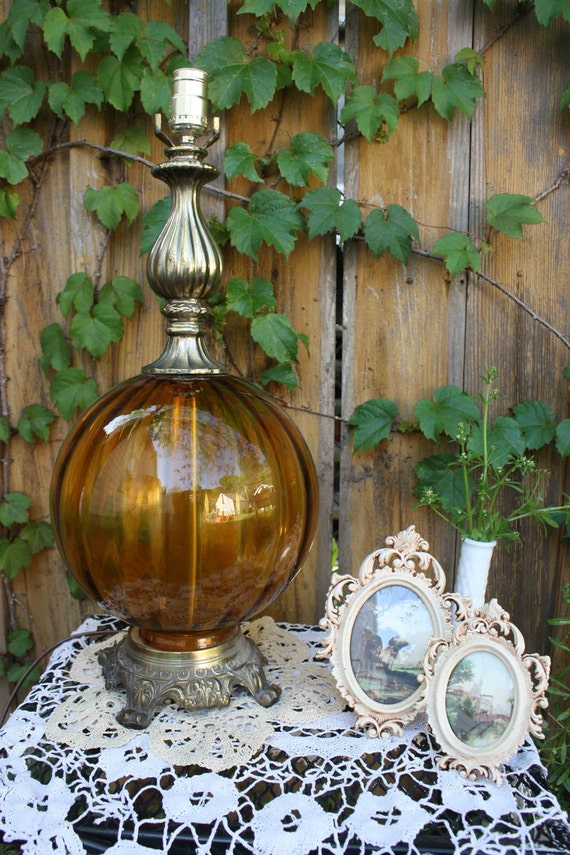 Vintage - Brass and Amber Glass Dome Lamp - Victorian Chic - Mid Century - Amber Globe - Hollywood Regency - Ornate Brass