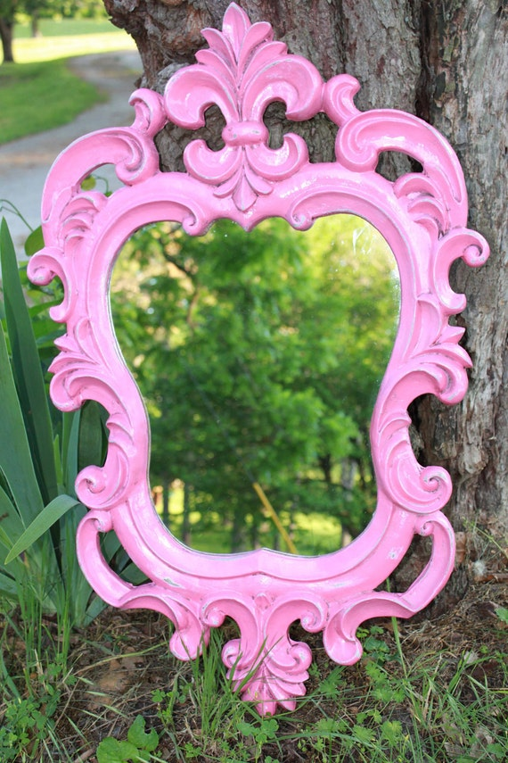 RESERVED - SALE - Hot Pink Ornate Mirror // Hollywood Regency Home Decor // Shabby chic // pretty in pink