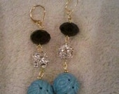 Textured Turquoise, Crystal, and Black earrings in Gold