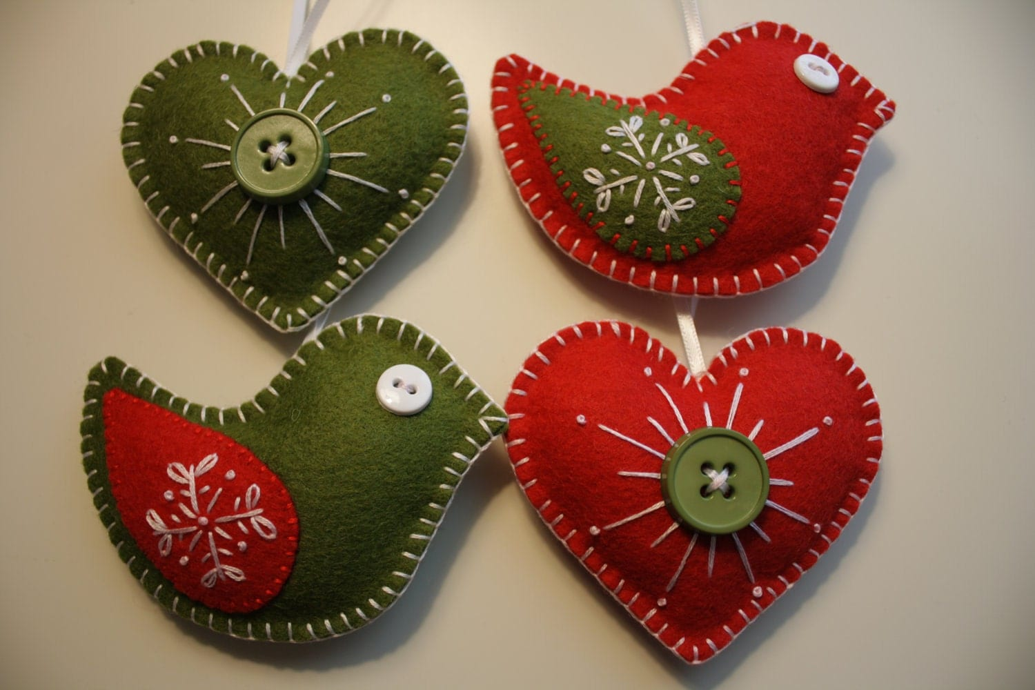 Christmas felt ornaments - Christmas Felt Ornaments Birds And Hearts Zoom