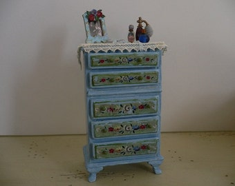 One Inch Scale Shabby Chic Dollhouse Miniature Chest of Drawers