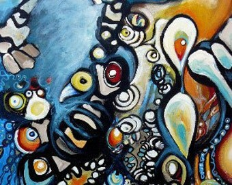 """Giclee Print on Paper of Abstract Painting- """"Embedded"""""""