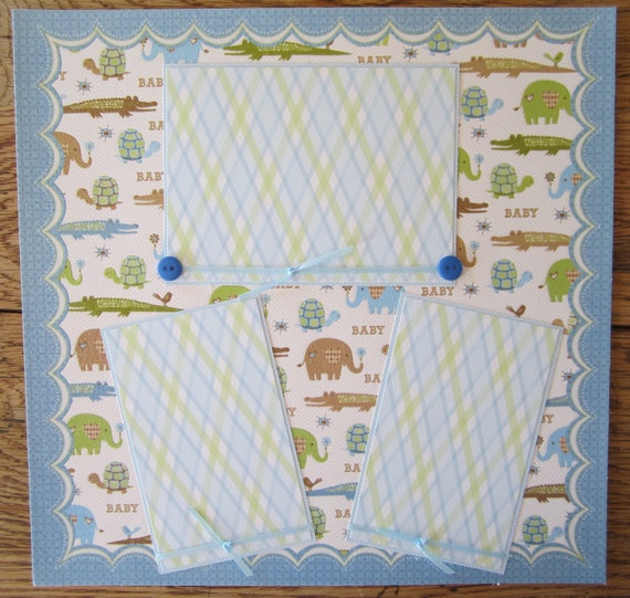 12 x 12 Premade Scrapbook Page Baby Boy Premade Page 2 Page Layout by Island Lilly Designs