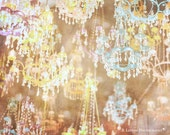 Chandelier Photograph - Whimsical Photography - Nursery Art - Sparkles - Fine Art Photography Print- Yellow Blue Pink Brown Home Decor