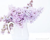 Flower Photography - Lilac Photograph - Gift for Her - Flowers - Flower Bouquet - Fine Art Photography Print - Purple White Home Decor