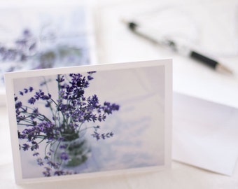 Flower Photography Cards - Stationery - Fine Art Photography Cards - Lavender Bouquet - Purple White Note Cards
