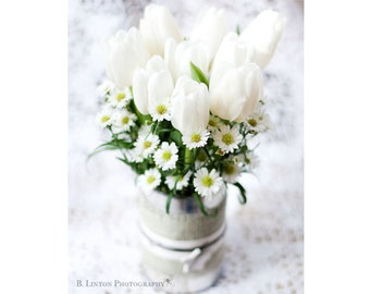 Flower Photography - Nature Photograph - White Tulip Photograph - Tulips - Flowers - Fine Art Photography Print - White Green Home Decor