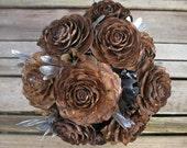 Silver Rosecone Wedding Bouquet - Silver Bridal Bouquet - Cedar Rose, Myrtle & Iris
