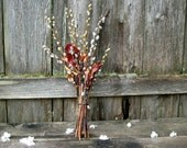 Natural Woodland Bouquet - Dried Floral Arrangement - Autumn Lily - Pussy Willow, Persian Ironwood & Iris