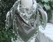 "Vintage Green Cotton and Silk-Cotton Traditional ""Yazma"" Scarf"