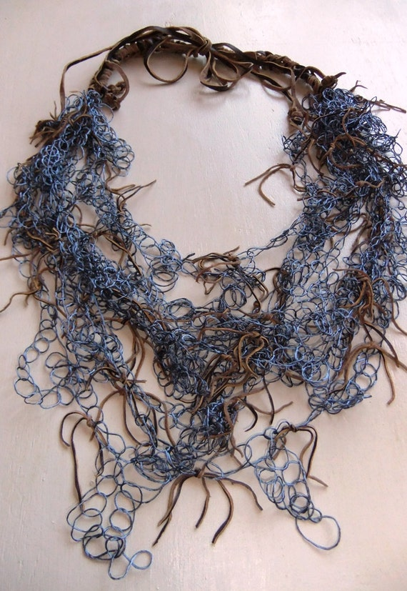 Caramel and Blue Crocheted Leather & Floss Silk Necklace