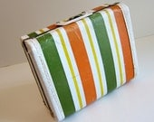 Green Orange Stripped Hard Case Vintage Bag Suitcase
