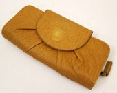 Vintage Wallet Coin Purse Hand Tooled Mustard Yellow Faux Leather