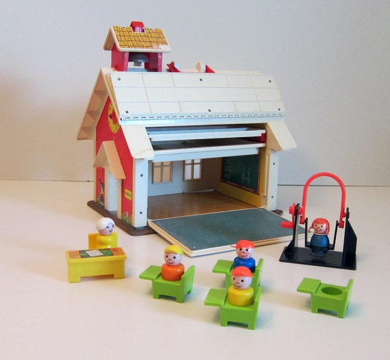 Fisher Price School House with people toy vintage 1970 toy