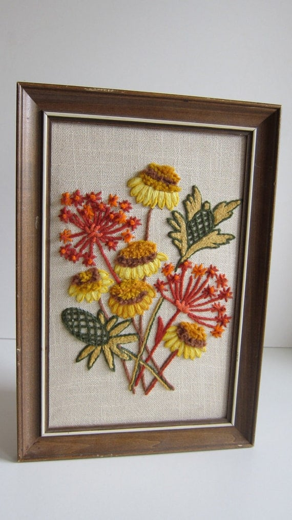 Vintage Art Embroidered flower bouquet yarn art color yellow blue Needlepoint