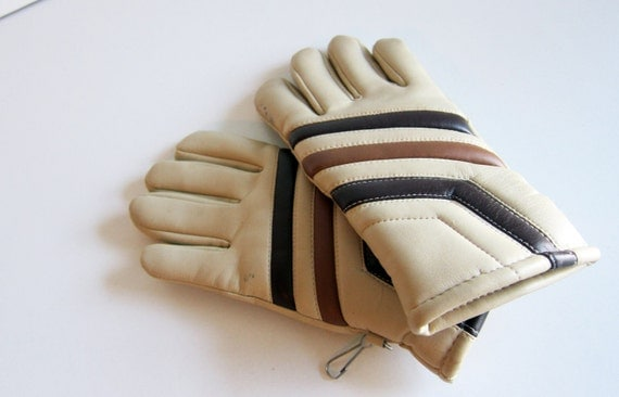 Vintage snow gloves ski gloves 1980s cream brown and tan