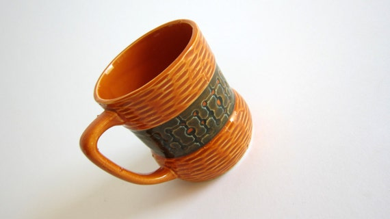 Orange Teal Green Coffee Mug Dot and Line Pattern Vintage Ceramic Coffee Cup