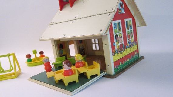 Fisher Price School House with Bus and people toy vintage 1970